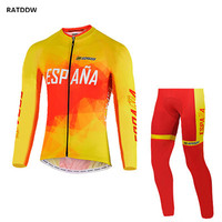 Spain Team Men Thermal Fleece Cycling Jerseys breathable Winter Cycling Clothing Bike wear ropa ciclismo maillot ciclismo