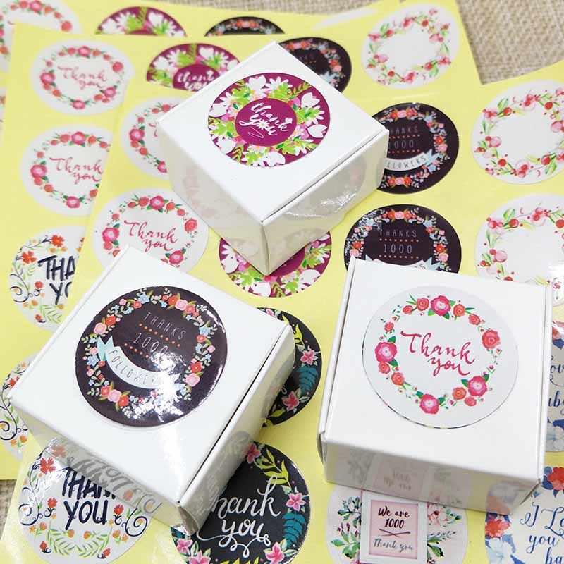 NEW DIY  112PCS Thank You Sticker Label Flower Circle New Style Flower designs 1000% Thanks love you Baby Mix Design  Stickers