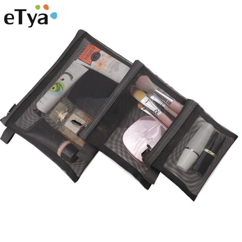 ETya 3PCS/lot Women Travel Cosmetic Bag Casual Zipper Small Large Make Up Makeup Case Organizer Set Toiletry Beauty  Bags Pouch