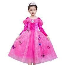 Рождество девушка Спящая красавица принцесса платье Авроры дети ребенок длинный рукав длинное платье розовый костюм праздничная одежда бесплатна