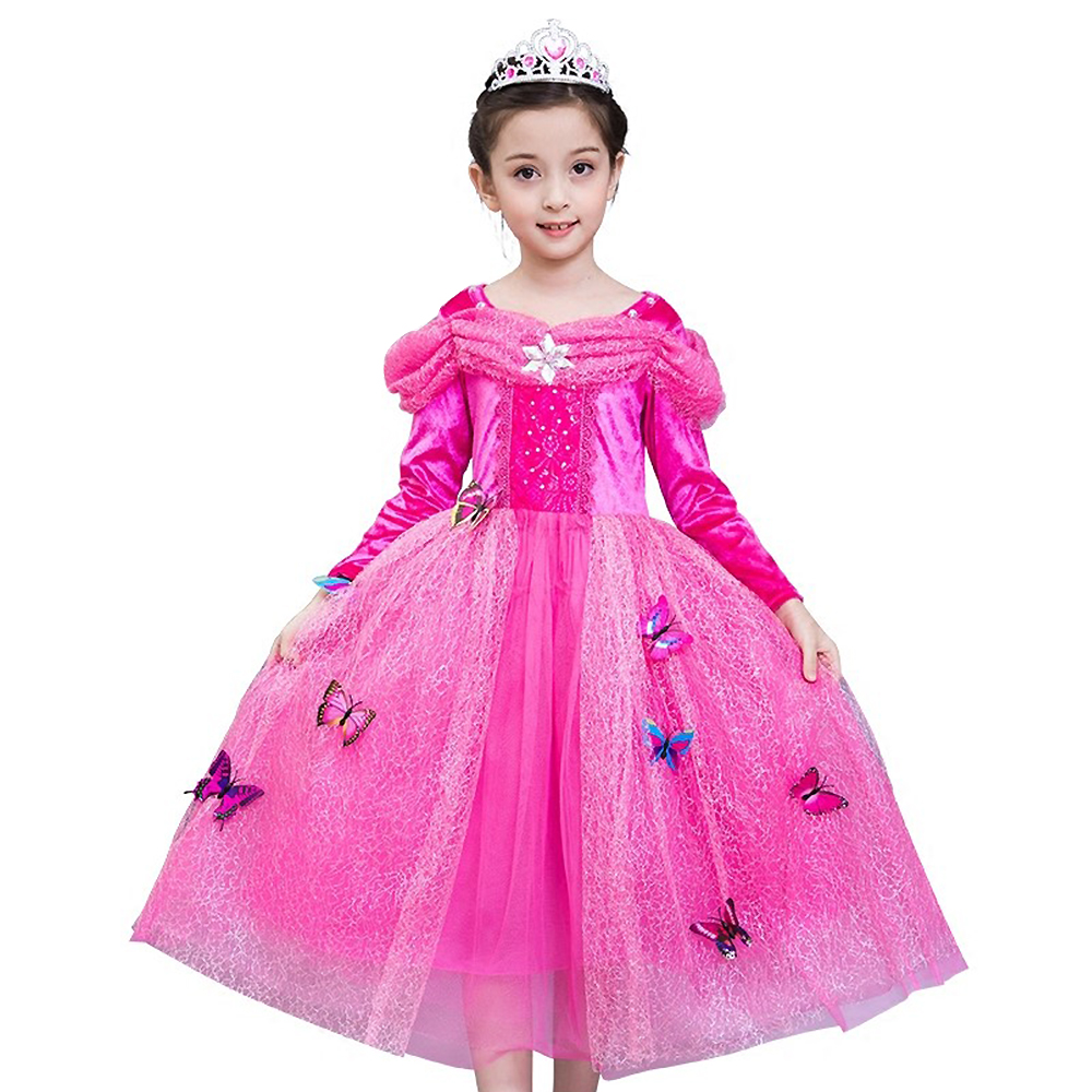 Christmas Girl Sleeping Beauty Princess Aurora dress kids Baby Full Sleeve Long dress Pink Costume Party Clothes Free butterfly sleeping beauty princess costume spring autumn girl dress 2017 pink princess aurora dresses for girls party costume free ship