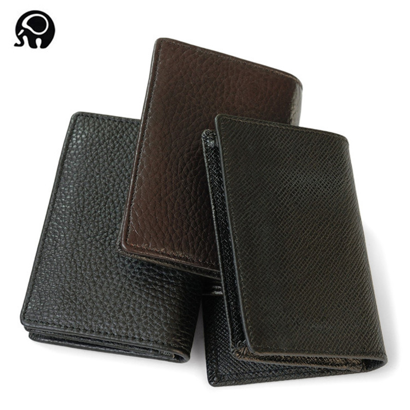 Hot Men Cowhide Genuine Leather Slim Wallet Business Casual Credit Card ID Holder Money Card Holder Purse men business real cowhide leather three style money bag wallet