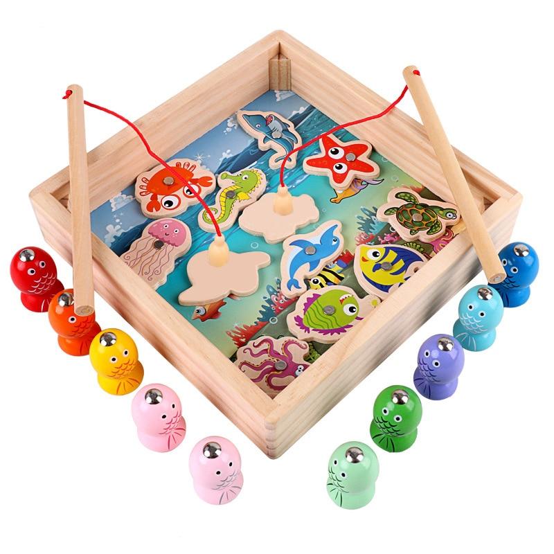 Children Wooden Digital Fishing Set Toy Column Game For Boys Girls Education Fun