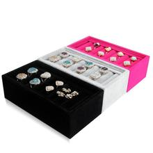 Hot sale Rings Tray 3 Colors Options Nice Cute Jewelry Bracelets Holder Storage Made of High Quality Velvet