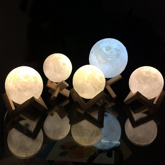 Creative 3D Print Moon Lamp With Touch Sensing Switch 3D Lunar Lamp  Nightlight Color Changeable