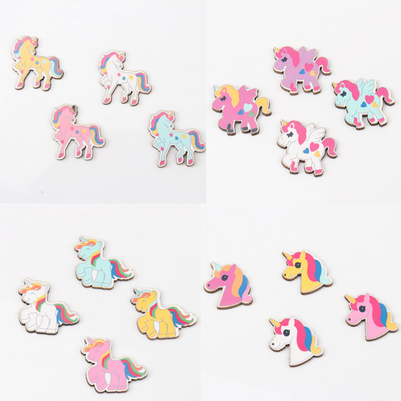 Mixed Unicorn Pattern Wooden Scrapbooking Art Collection Craft For Handmade Accessory Sewing Home Decoration 28mm 20pcs
