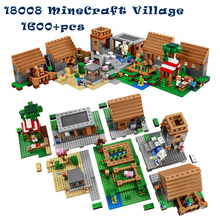 1600+pcs Model building kits compatible with lego my worlds MineCraft Village blocks Educational toys hobbies for children