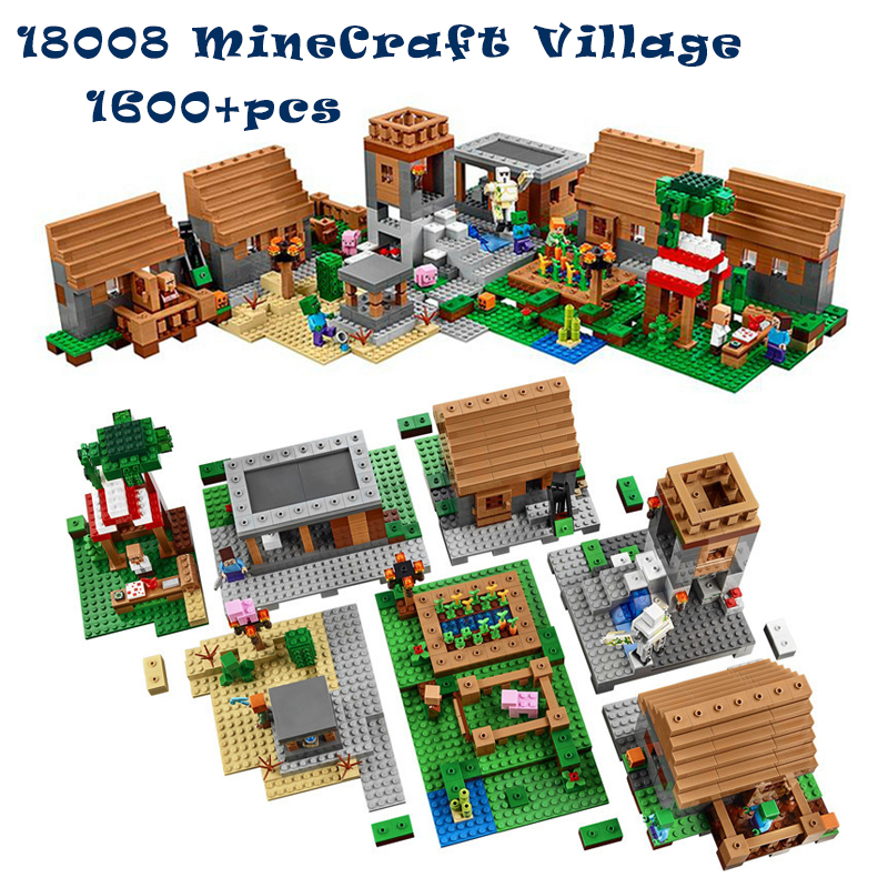 1600+pcs Model building kits compatible with legoingly my worlds MineCraft Village blocks Educational toys hobbies for children model building kits compatible with lego the sky dragon my worlds minecraft 548 pcs model building toys hobbies for children