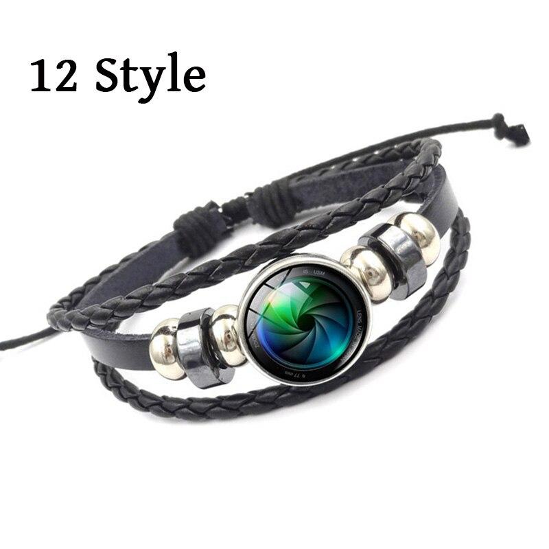 2018 new Fashion Jewelry Camera Lens Glass Cabochon Bracelets & Bangles Vintage Multilayer Braided Bracelets for Women Men gift