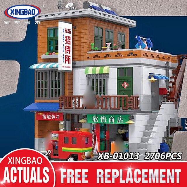 Xingbao 01013 2706 pcs Genuine Creative MOC City Series The Urban Village Set Building Blocks Bricks Educational Toys Model Gift