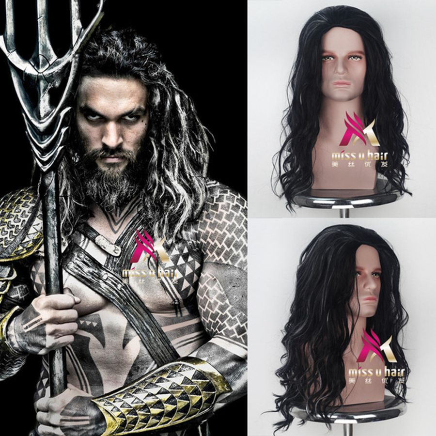 Movie Justice League Aquaman wig Aquaman Role Play Poseidon Hair DC Comic Cosplay Costume Wigs Jason Momoa