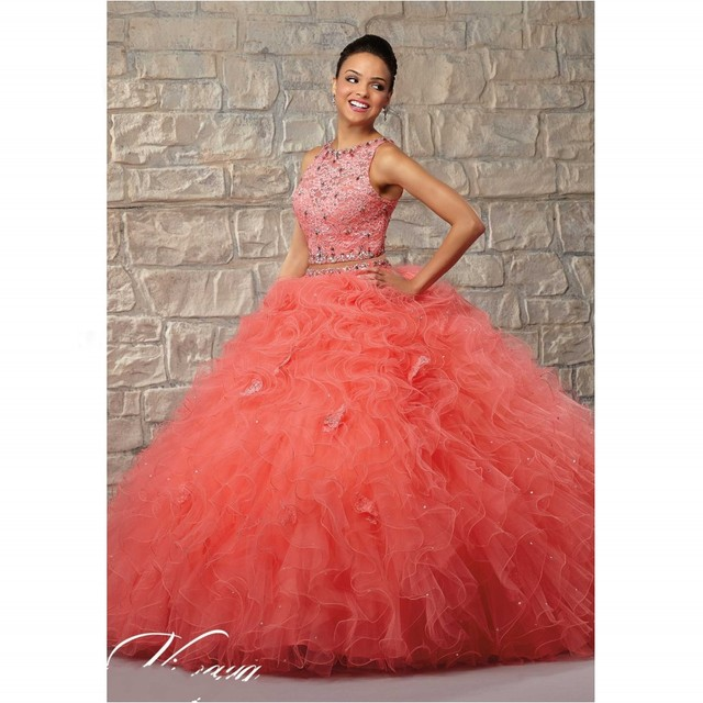 b5523fa153c8 Tulle and lace 2 units puffy dresses coral quinceanera dresses beaded shawl  ball with curly light champagne color