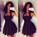 New Sex Halter Black Women Square Neck Summer Beach Sleeveless Party Cocktail Dresses Hot Sale Knee Length Ruched Party Gown