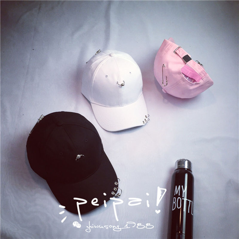 2016 Safety Pin Hip hop Men Cotton Cap Summer Ring Black Baseball Cap high quality Curved Hats Candy Color Girls Sunhat