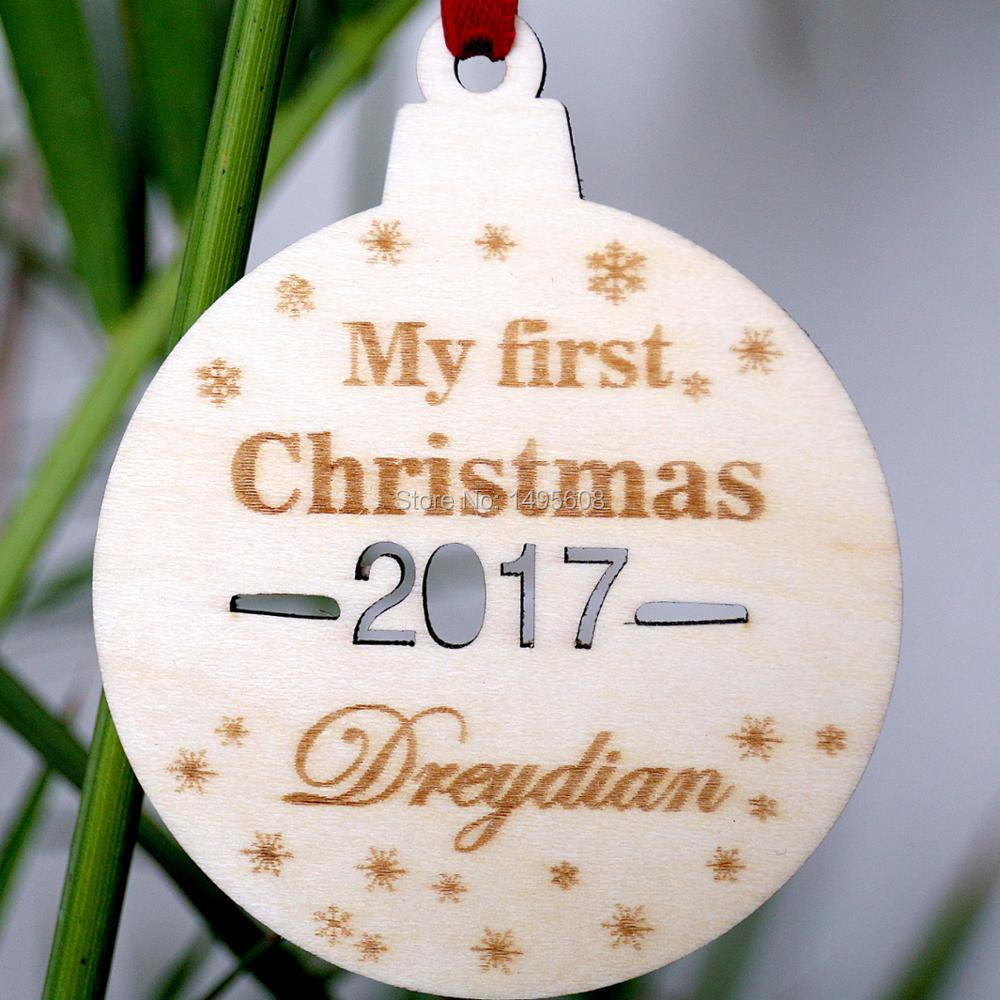 Personalised First Christmas Wooden Christmas tree decoration- 1st xmas Wooden wood ornament custom made timber wood xmas decora ...