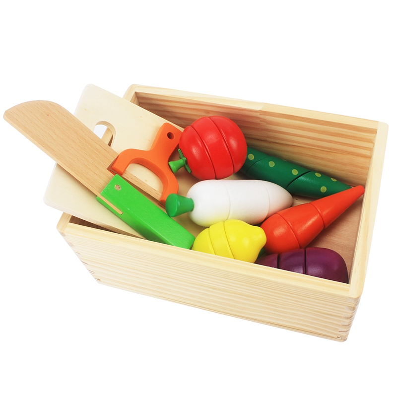 Baby Wood Pretend Play Kitchen Set Toys Simulation Cutting Fruit Vegetable Knife With Box Kids Wooden Toy Infant