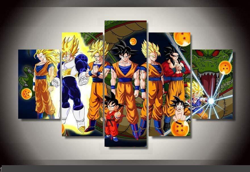 Art abstrait décor d'intérieur 20x35cmx2, 20x45cmx2, 20x55 cm Dragon ball anime impression toile en 5 pièces