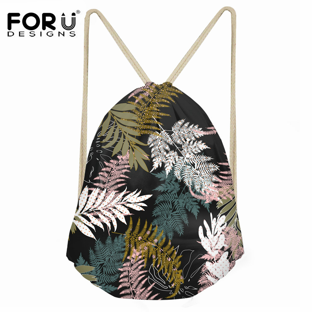 FORUDESIGNS 3D Tropical Rainforest Printing Canvas Drawstring Bag Women Fashion Small Shoes String Backpacks For Girls Ladies