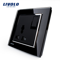 Livolo Manufacturer 1 Gang 1Way Push Button Switch 3Pins Multifunction 10A Socket Black Crystal Glass Panel