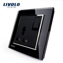 Livolo REINO estándar 1 Gang 1Way Interruptor de Botón y 3 Pines Multifunción Toma de $ number, Panel negro Crystal Glass, VL-W2Z1C-11