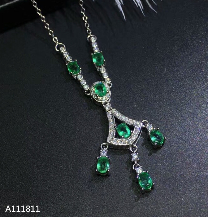 KJJEAXCMY boutique jewels 925 pure silver inlaid natural and emerald lady Necklace Pendant support test kjjeaxcmy boutique jewelry 925 pure silver mosaic jade jadeite pendant necklace support test