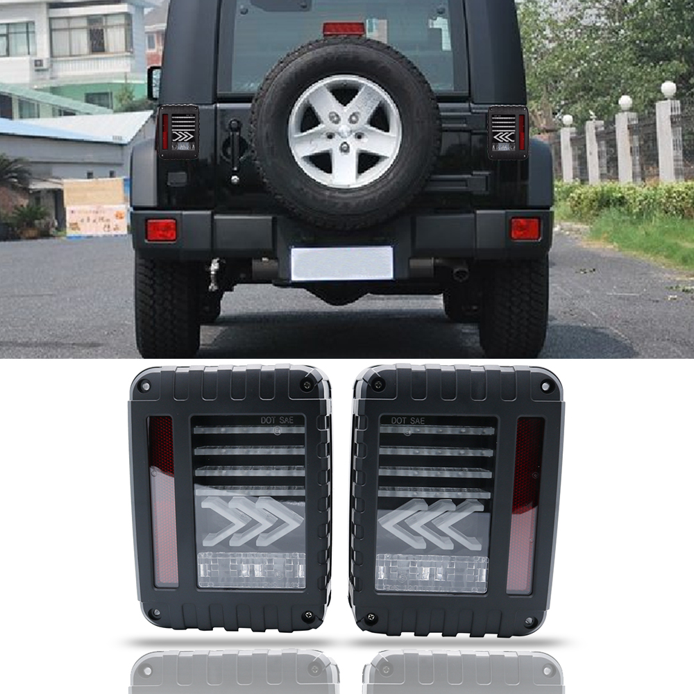 Black Clear for Jeep Wrangler JK 2007-2017 LED Tail Lights W// DRL Left Right