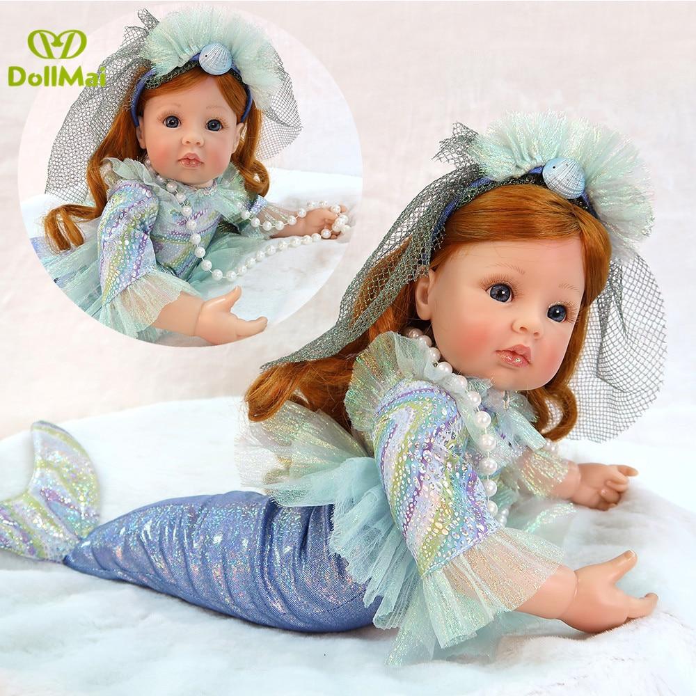 Nouvelle poupée sirène Reborn jouet pour filles cadeaux d'anniversaire vinyle silicone nouveau-né bébé vivant poupée bebes reborn menina 58 cm