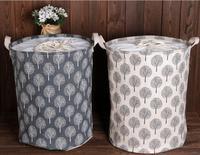 Large Foldable Drawstring Linen Cotton Storage Bag Bucket Tree Pattern Laundry Basket Hamper Sundries Toy Organizer