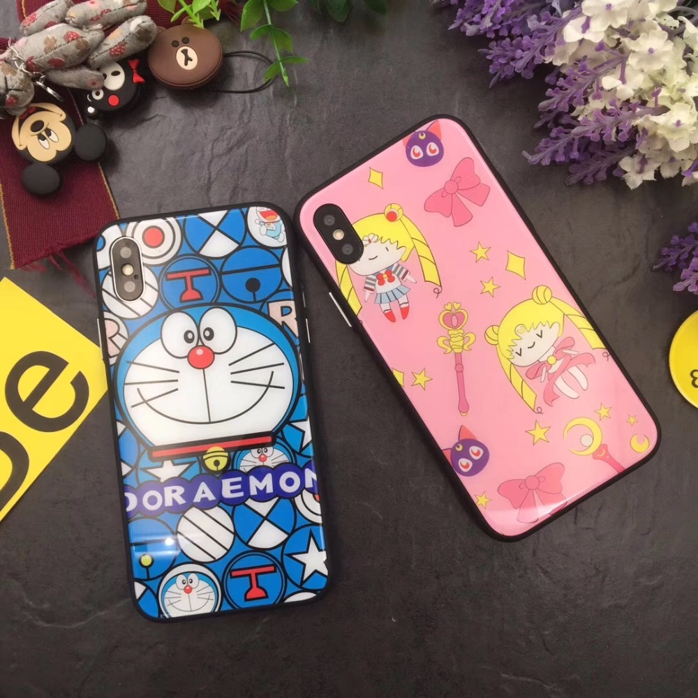 10pcs/lot Cartoon Doraemon Tempered Glass Anti-shock Glossy Back Cover Case For iPhoneX 8/6s 7plus Skinny Shell Protection
