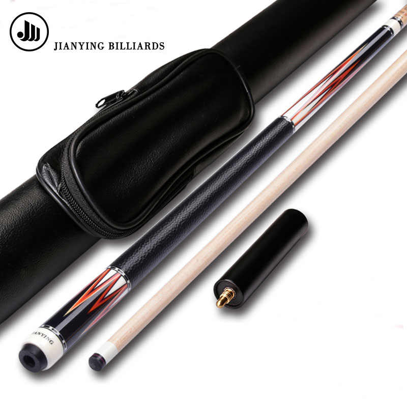 2019 New Jianying 8 Pieces Wood Laminated Technology Shaft Pool Cue Stick 12.75mm with Extension Pool Cue Case Set 3 Colors