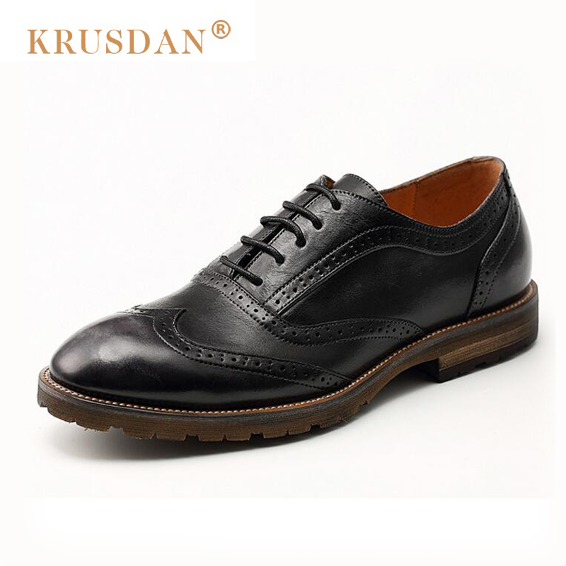 2018 Time-limited [krusdan]2018 Genuine Leather Retro Men Shoes Brogues Zapatos Hombre Bullock Business Oxfords Man Dress Flat hand made genuine leather men shoes new 2016 spring autumn flat men shoes lace up loafers shoes oxfords for men zapatos hombre