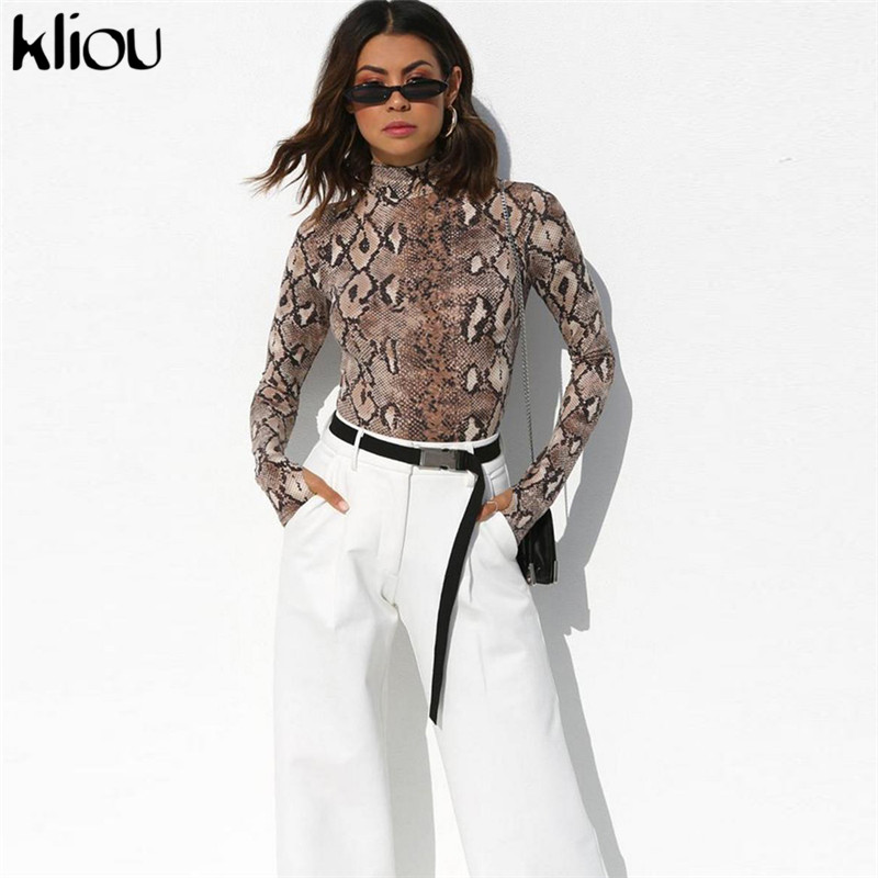 1fd5cb39f06 Detail Feedback Questions about Kliou 2018 autumn winter women full sleeve  turtneck Snake skin print bodysuit bodycon female skinny sexy casual  rompers ...