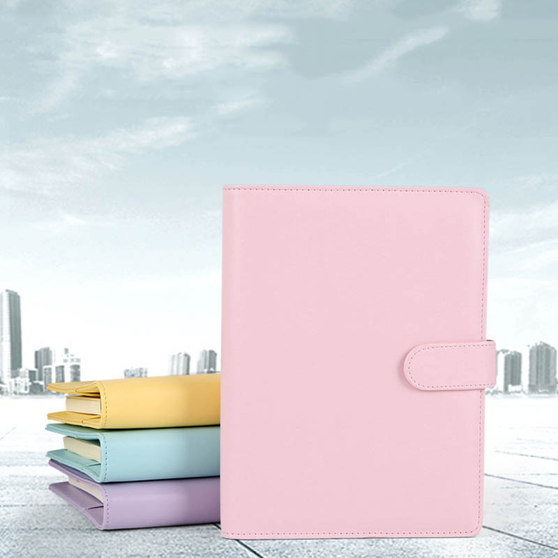 Kicute Candy Color <font><b>A5</b></font> Leather Loose Leaf Refill Notebook Spiral <font><b>Binder</b></font> Planner Replacement Cover <font><b>6</b></font> <font><b>Hole</b></font> Loose Leaf Notepad Shell image