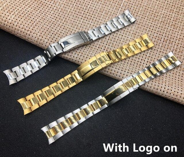 חדש רצועת שעון שעונים בנד 20MM גברים מלא נירוסטה פרפר אבזם זהב כסף עבור תפקיד דייטונה צוללן Gmt רצועה לוגו על