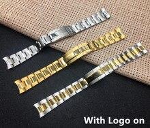 Correa de reloj de 20MM para hombre, cierre de mariposa de acero inoxidable completo, dorado y plateado, con logotipo
