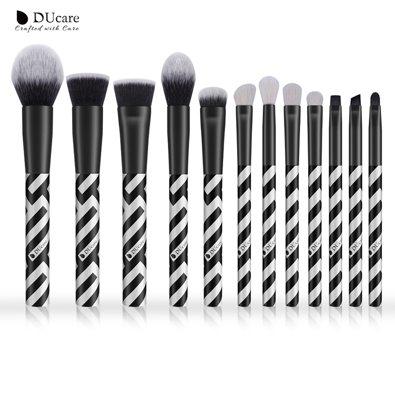DUcare 12 PCS Makeup Brush Set Eyeshadow Goat Hair Powder Foundation Brush Make Up Brushes Synthetic Hair Cosmetic Tools Kit at fashion 12 pcs makeup brushes set studio holder portable make up cup natural hair synthetic duo fiber makeup brush tools kit