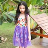 Floral Pattern Little Girls Dress Summer 2018 New With Mesh Teenager Dresses For Girls 10 Years
