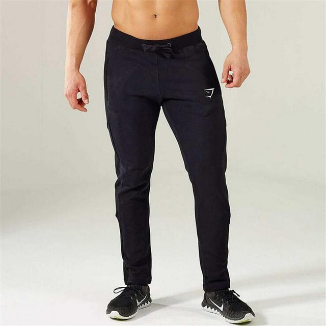Gymshark Men's Spring New Pure Color Crime Closely The Embroidery Logo Is Tight Pants