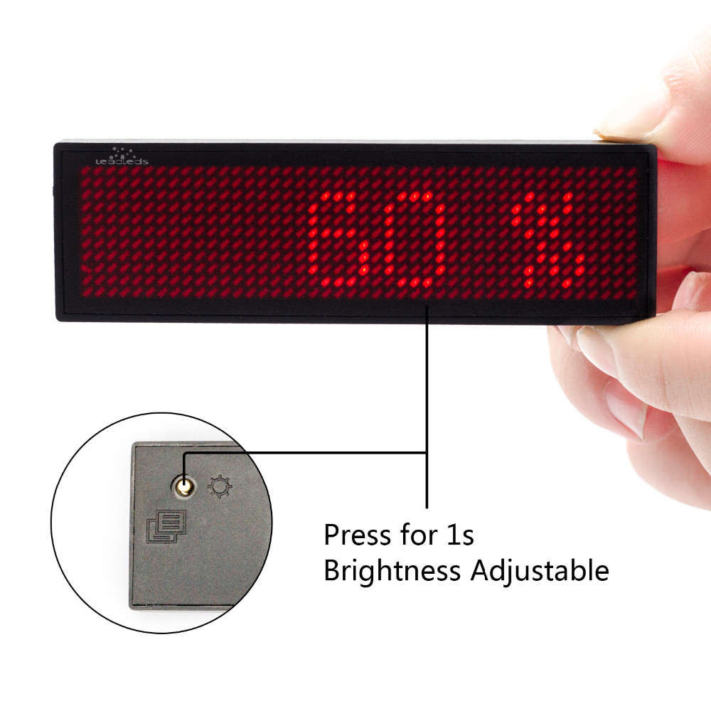 Red Color LED Badge Rechargeable USB Powered 5mm Pixels Moving ...
