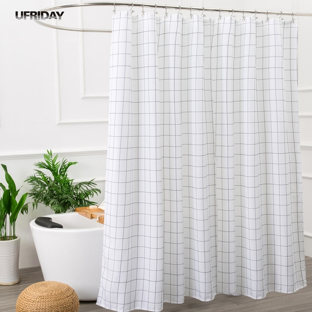 UFRIDAY White And Black Geometric Bathroom Fabric Shower Curtain With 12 Hooks High Quality Waterproof Mildewproof