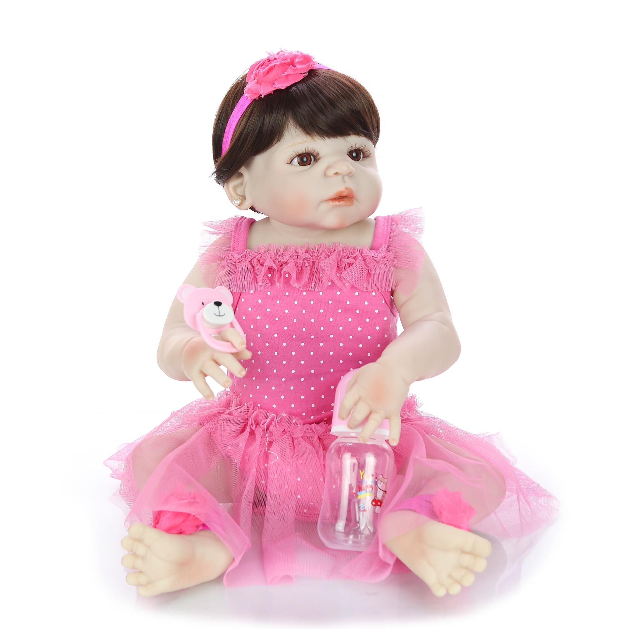 23 ''57 cm Silikon Volle Körper Baby Puppe Spielzeug Für Mädchen Lebensechte Babys Reborn Puppe Echte Prinzessin Tragen Rosa kleid Für Kinder Geschenk-in Puppen aus Spielzeug und Hobbys bei  Gruppe 3