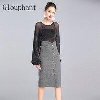 Glouphant Hot Perspective Sexy Halter Top Blouse Elegant Women Skirt Autumn Two Piece Set Long Sleeve
