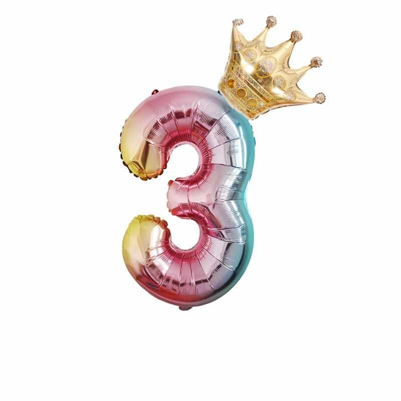 2 шт. градиентные цветные декорации с днем рождения фольги воздушный шар радуга 32 дюйма Количество шарики короны Свадебная вечеринка ребенок душ Декор