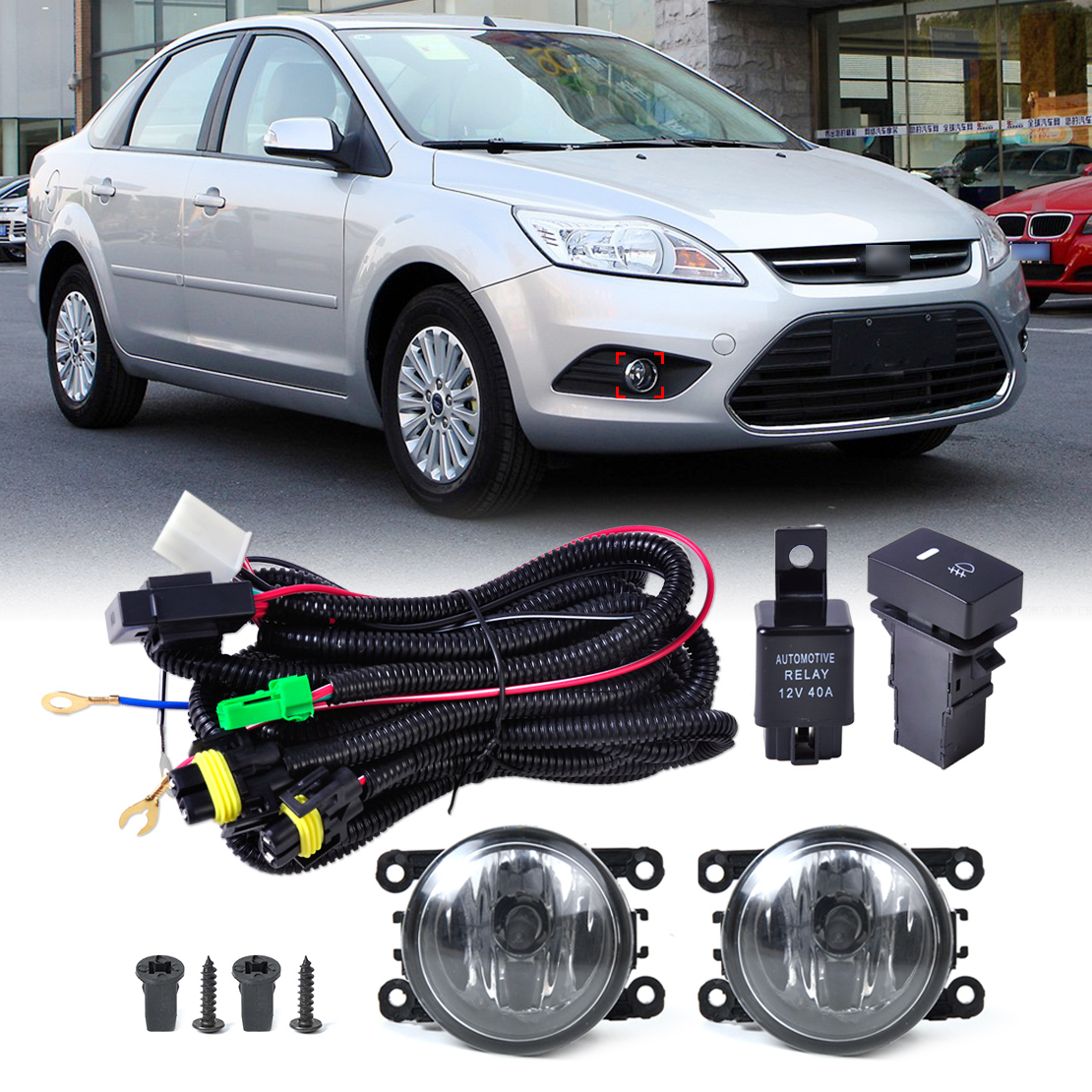 DWCX Wiring Harness Sockets + Switch + 2pcs Fog Lights Lamp 4F9Z-15200-AA for Ford Focus Honda CR-V Acura Nissan Suzuki Subaru set wiring harness sockets wire switch for h11 fog light lamp for ford focus 2008 2014 acura tsx rdx for nissan cube for suzuki