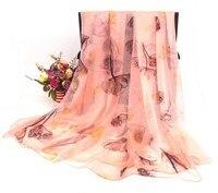 ใหม่วินเทจ100%ชีฟองผ้าไหมผ้าพันคอดอกไม้แบบNeckerchiefs 175