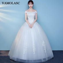 VAMOLASC Pearls Boat Neck Ball Gown Lace Appliques Wedding Dresses Off The Shoulder Tulle Backless Bridal Gowns