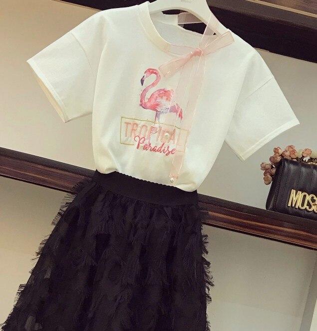 shirt Bianco Pannello Stampa Vita A Del Gonna Stereo Da Nastro Delle Di Pezzo Lunga 2018 Esterno Flamingo Donne Due Collo Elastico In Nappa T Insieme Nuovo Estate Modo 07wp4q