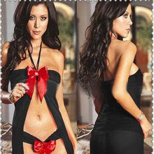 Leechee Q119 Women sexy lingerie Babydoll Bow vest+Tong panties Lace perspective lenceria Sexy underwear porn costumes