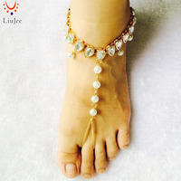 Boho Bead Anklet Wedding Foot Jewelry Chain Barefoot Sandals Beach Foot Bracelet For Women AK015