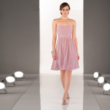 2014 Stylish Sweetheart A-Line Knee-Length Pale Pink Chiffon Ruched Bridesmaid Dresses Vestido Pra Madrinha Cheap Party Gowns